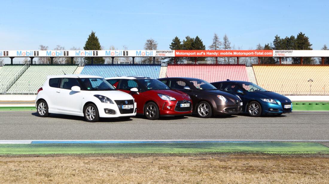Alfa Romeo Mito 1.4 TB 16V Super, Citroën DS3 THP 155 Sport Chic, Honda CR-Z Sport, Suzuki Swift 1.6 Sport, Seitenansicht