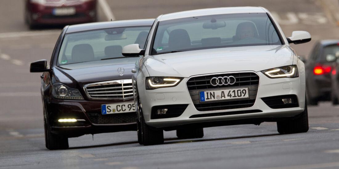 Audi A4 1.8 TFSI, Mercedes C 200, Frontansicht