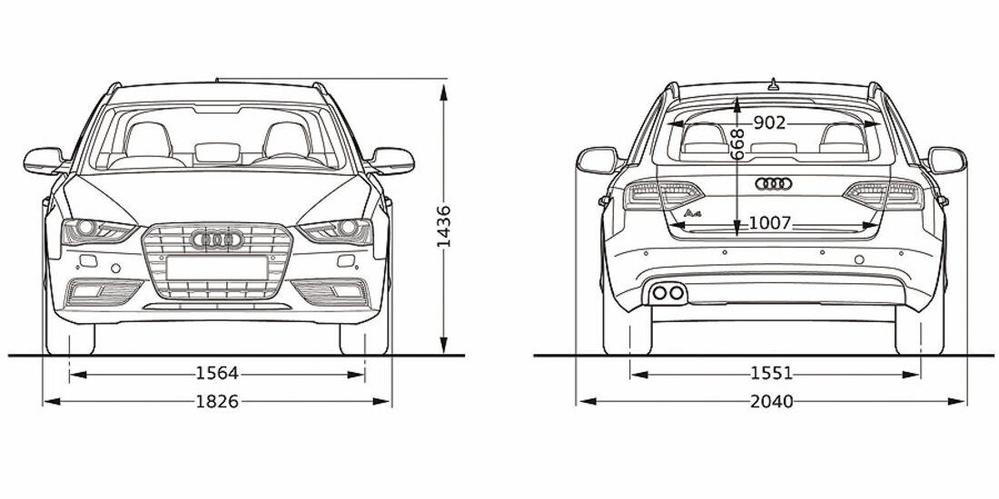 Audi A4, Abmessungen