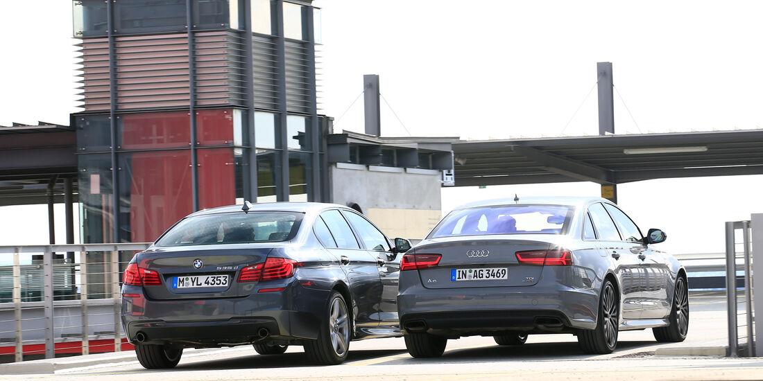 Audi A6 3.0 TDI Competition, BMW 535d, Heckansicht