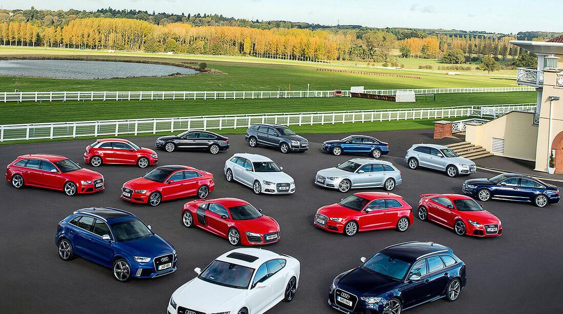 Audi, Gruppenbild, alle Baureihen, Modellpalette