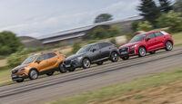 Audi Q2 1.4 TSI (GA), Opel Mokka X 1.4 Turbo(J-A), Mazda CX-3 G 150 AWD (DJ1), Außenansicht