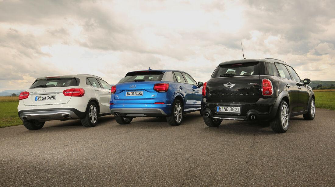 Audi Q2, Mercedes GLA, Mini Countryman, Heckansicht