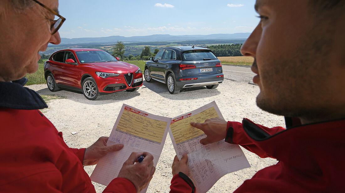 Audi Q5 2.0 TFSI Quattro, Alfa Romeo Stelvio 2.0 Turbo Q4 Front