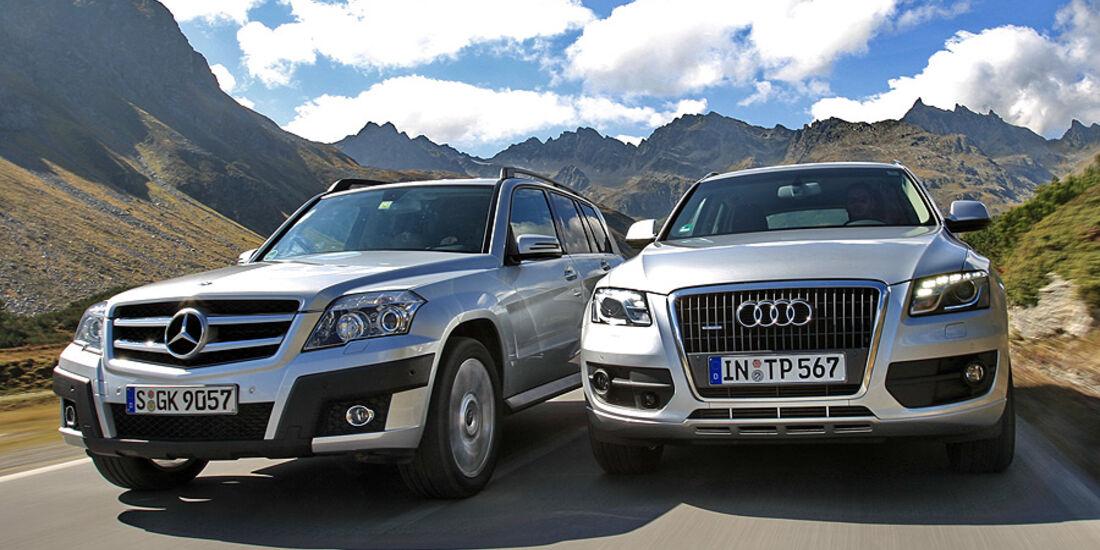 Audi Q5 2.0 TFSi Quattro und Mercedes GLK 300 4-Matic