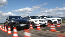 Audi Q5, Mercedes GLK, Porsche Macan, Frontansicht