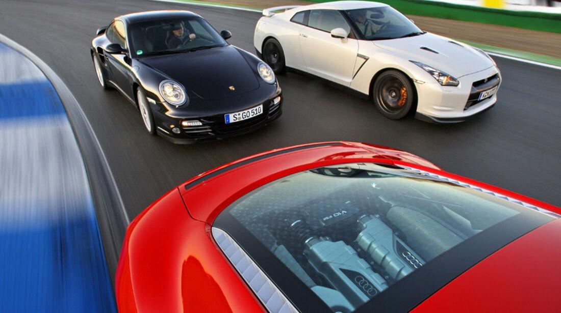 Audi R8 5.2 FSI Quattro, Nissan GT-R Black Edition, Porsche 911 Turbo PDK