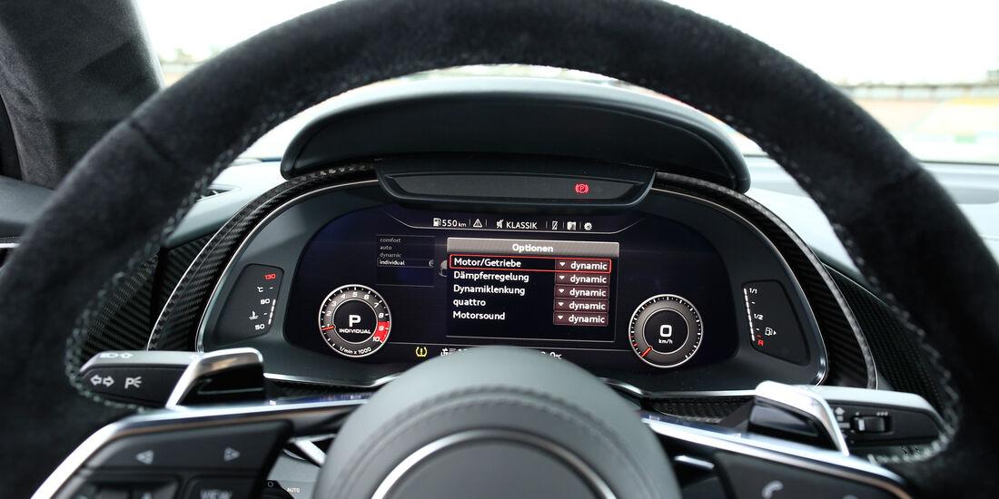 Audi R8 V10, Audi R8 5.2 FSI Quattro, Anzeigeinstrumente