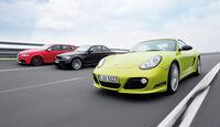 Audi RS3 Sportback, Porsche Cayman R, BMW Einser M Coupe, Gruppenbild, Teststrecke