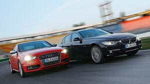 Audi S4 3.0 TFSI, BMW 335i x-Drive Luxury Line, Frontansicht