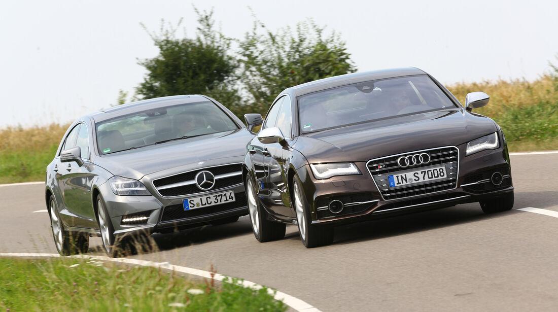 Audi S7 Sportback, Mercedes CLS 500 4matic, Frontansicht