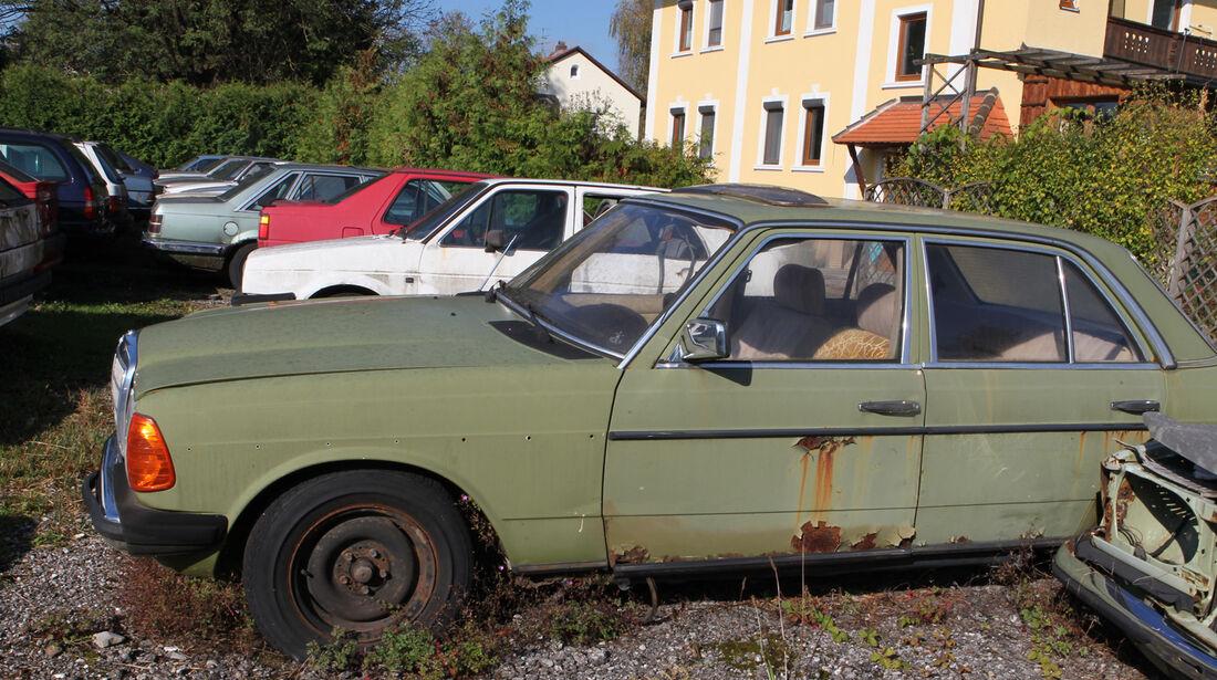 Autofriedhof Rust, Mercedes, Seitenansicht