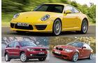 Autojahr 2011 Aufmacher, Porsche 911, BMW 1er M Coupé, VW Tiguan