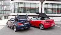BMW 125i Cabrio, VW Golf GTI Cabrio, Heckansicht, Verdeck öffnet