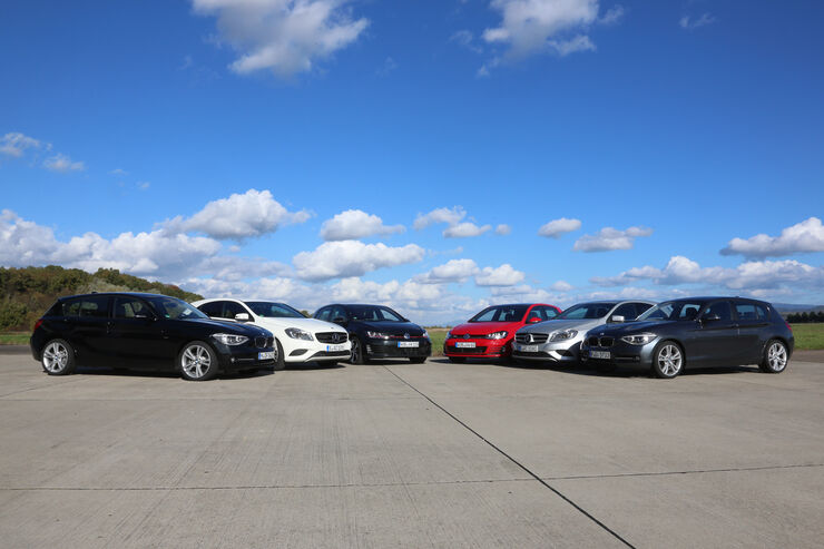 BMW 125i, Mercedes A 250, VW Golf GTI Performance, VW Golf GTD, Mercedes A 220 CDI, BMW 125d