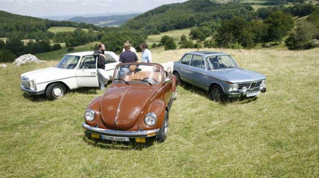 BMW 2002 tii, Mercedes-Benz 280 E, VW 1303 Cabriolet