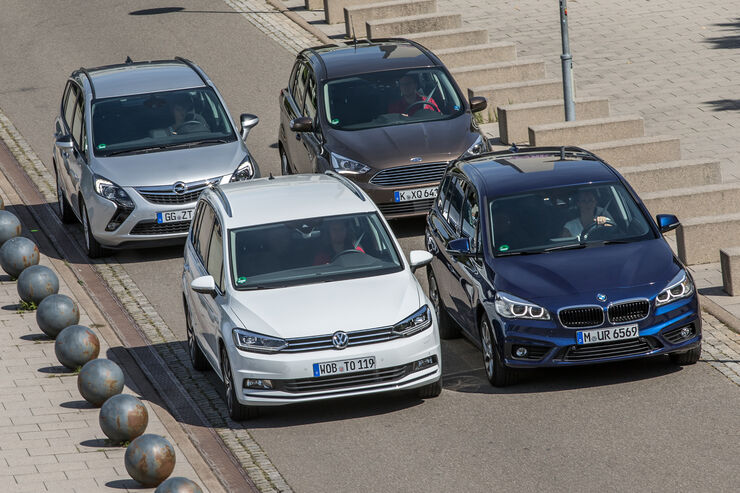 bmw 2er gran tourer, ford grand c-max, opel zafira tourer, vw touran