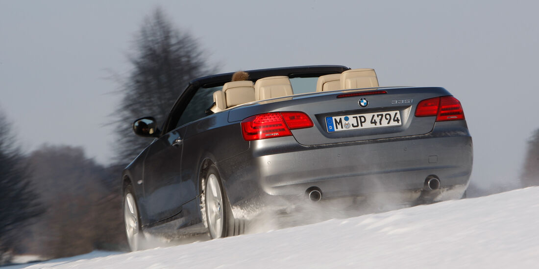 BMW 335i Cabriolet, Heck, Schnee
