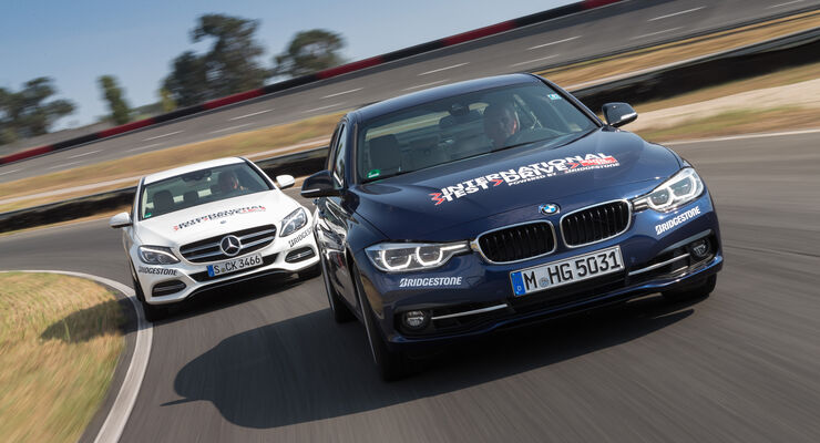 BMW 340i, Mercedes C400 4Matic, Frontansicht
