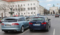 BMW 520d Touring, Jaguar XF Sportbrake 2.2D, Heckansicht