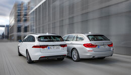 BMW 530d Touring xDrive Luxury Line, Jaguar XF Sportbrake 25d AWD Portfolio, Exterieur