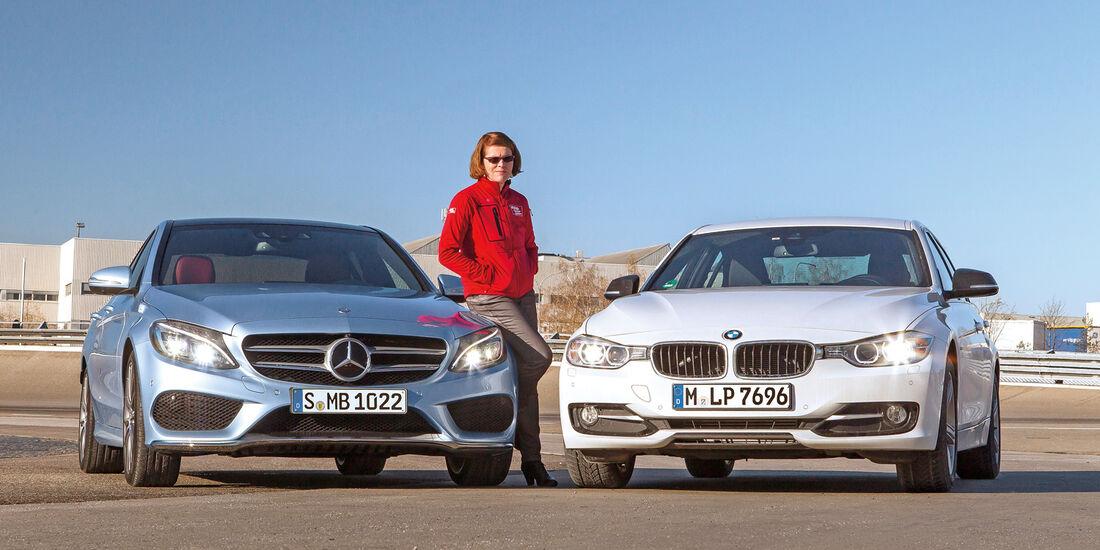BMW Dreier, Mercedes C-Klasse, Frontansicht