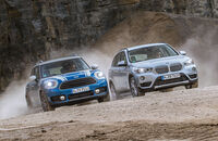 BMW X1 18d sDrive, Mini Countryman Cooper D, Frontansicht