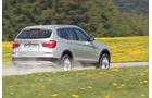 BMW X3 x-Drive 30d, Rückansicht, Wiese, Straße nass