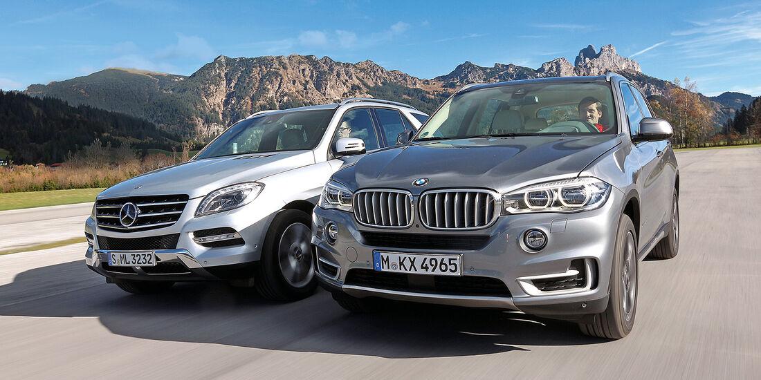 BMW X5 30d, Mercedes ML 350 Bluetec, Frontansicht