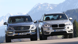 BMW X5 xDrive 25d, Mercedes ML 250 Bluetec 4Matic, Frontansicht
