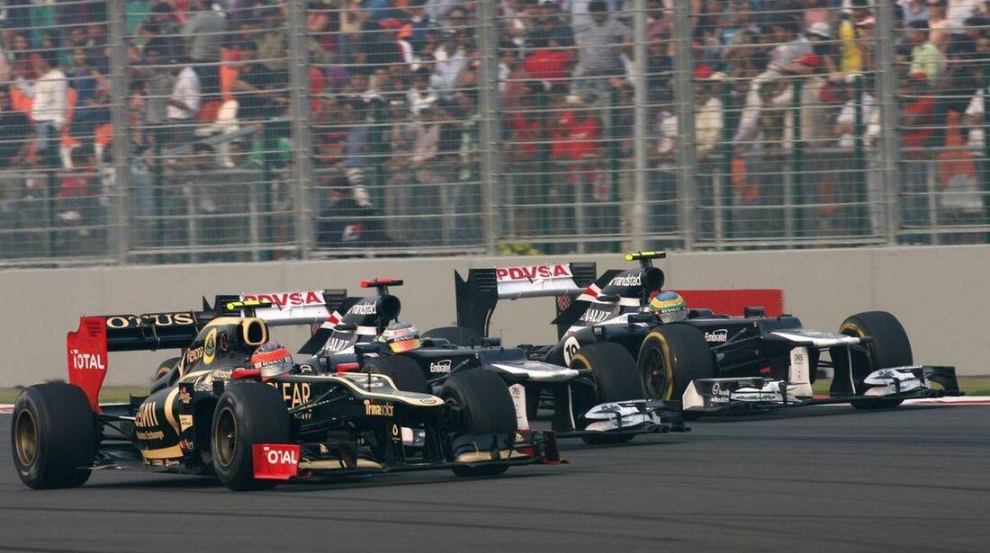 Bruno Senna - Pastor Maldonado - Romain Grosjean - - Formel 1 - GP Indien - 28. Oktober 2012