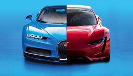 Bugatti Chiron Tesla Roadster Vergleich
