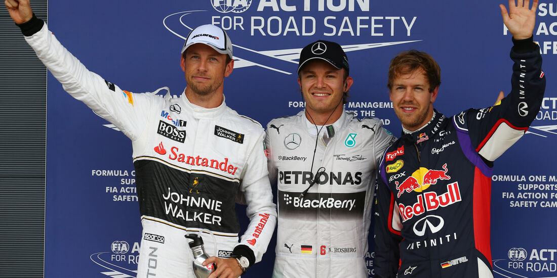 Button, Rosberg & Vettel - Formel 1 - GP England - Silverstone - 5. Juli 2014
