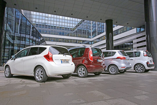 Citroën C3 Picasso, Ford B-Max, Nissan Note, Skoda Roomster, Heckansicht