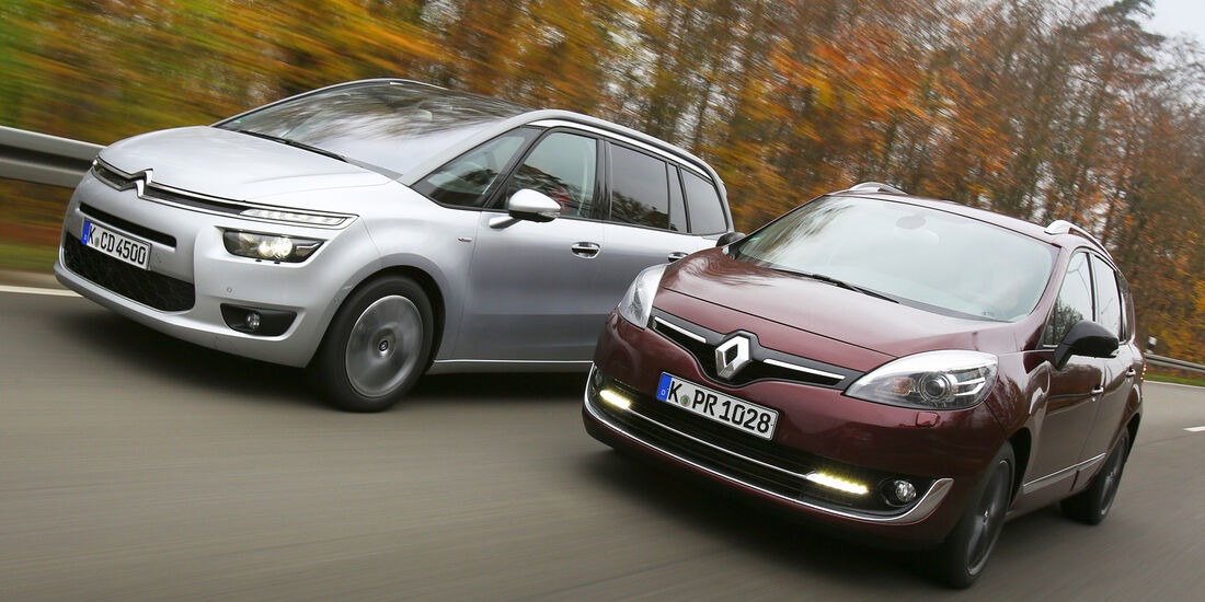 Citroën Grand C4 Picasso BlueHDi 150, Renault Grand Scénic dCi 150 FAB, Frontansicht