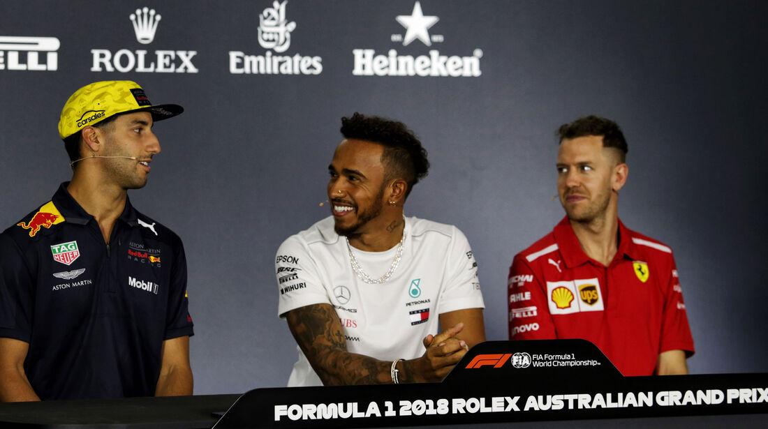 Daniel Ricciardo - Lewis Hamilton - Sebastian Vettel - GP Australien 2018 - Melbourne - Albert Park - Donnerstag - 22.3.2018