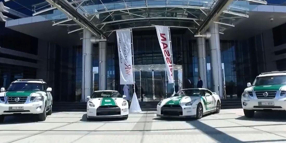 Dubai Police Cars Scheich Polizei Fahrt Porsche Ferrari Lambo