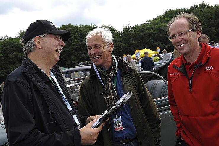 Eberhard Kittler, Leiter Volkswagen Classic, Matthias Müller, Porsche-Vorstandsvorsitzender ab 1.10.2010, und Thomas Frank, Leiter Audi Tradition