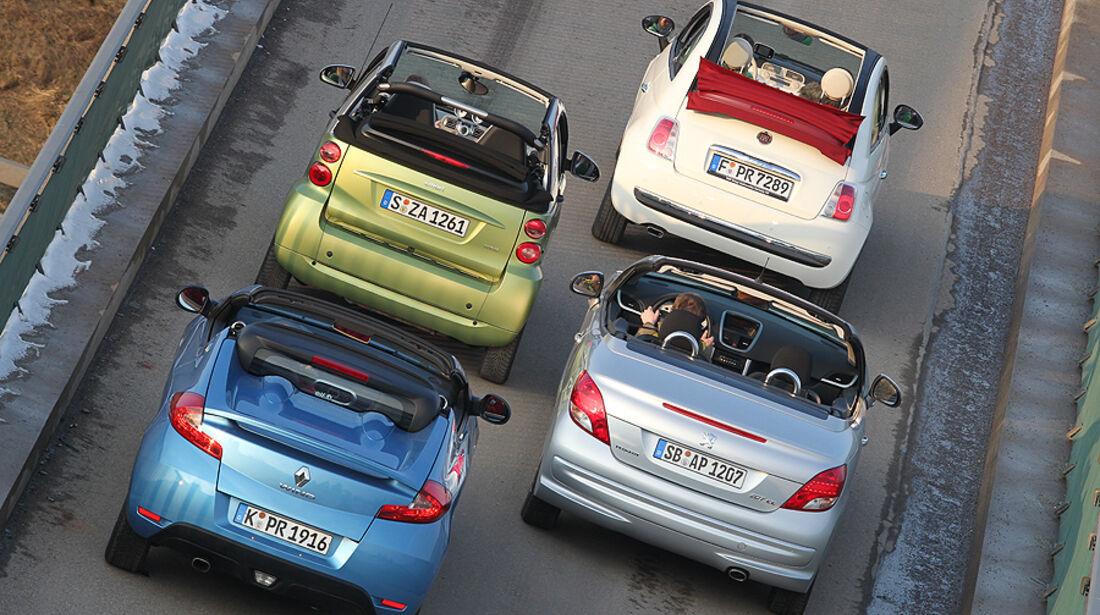 Fiat 500 C, Peugeot 207 CC, Renault Wind, Smart Fortwo Cabrio, Heck