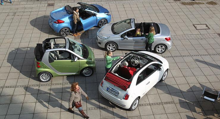 Fiat 500 C, Peugeot 207 CC, Renault Wind, Smart Fortwo Cabrio