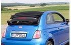 Fiat 500C, Heckansicht, Verdeck öffnet