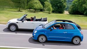 Fiat 500C, Mini One Cabrio, Seitenansicht