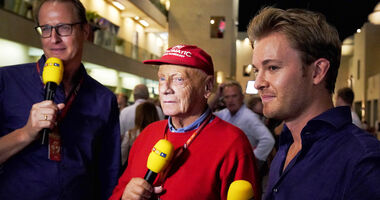 Florian König, Niki Lauda & Nico Rosberg - GP Abu Dhabi 2017