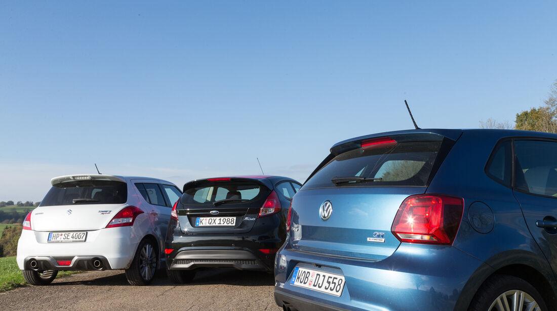 Ford Fiesta Black Edition, Suzuki Swift Sport, VW Polo Blue GT,