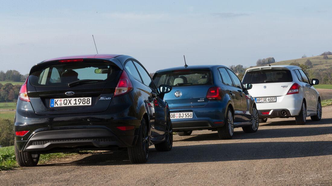 Ford Fiesta Black Edition, Suzuki Swift Sport, VW Polo Blue GT, Heckansicht
