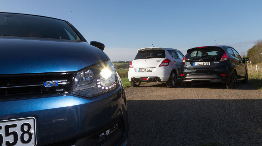 Ford Fiesta Black Edition, Suzuki Swift Sport, VW Polo Blue GT