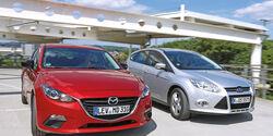 Ford Focus 1.0 Ecoboost, Mazda 3 Skyaktiv-G 100, Frontansicht
