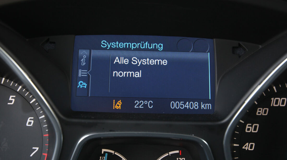 Ford Focus 1.6 Ecoboost, Bordcomputer, Systemprüfung