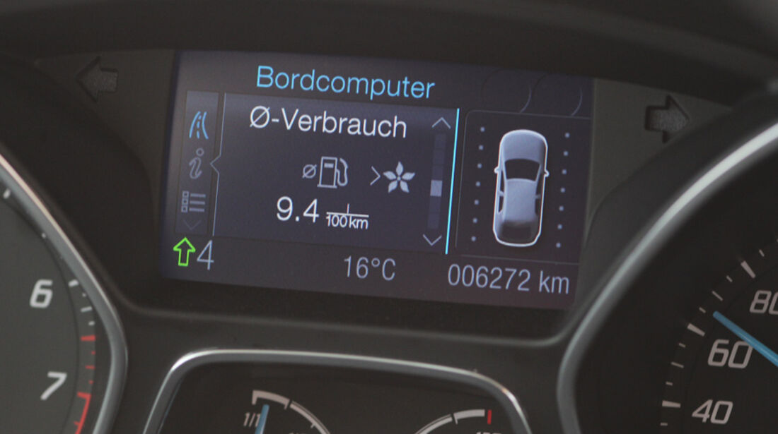 Ford Focus 1.6 Ecoboost, Bordcomputer, Verbrauch