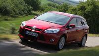 Ford Focus Turnier 1.6 Ecoboost Titanium, ams1411, Frontansicht, Fahrt